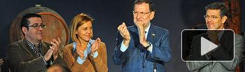 Mariano Rajoy con María Dolores de Cospedal y Rafael Catalá en un acto en Las Mesas (Cuenca)