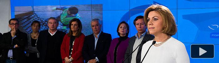 Carlos Floriano, Verónica Lope, María Dolores de Cospedal, Fátima Bánez, Javier Arenas, Barreiro y Antolín Sanz en la Exposición itinerante sobre datos de empleo