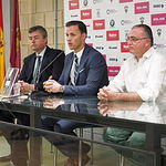 Rueda de prensa de Victor Varele (Skyline International) de la sala de prensa del Albacete Balompié