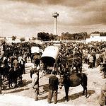 """Ejidos y Fiesta del Árbol a mitad del siglo XX, donde se puede contemplar el importante mercado de ganado instalado en """"La Cuerda""""."""