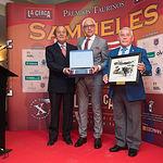 Samuel Flores, Manuel Lozano y Pepe Osuna en la Gala de entrega de los XI Premios Taurinos Samueles correspondientes a la Feria de Taurina de Albacete 2016