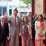 Sus Altezas Reales los Príncipes de Asturias, don Felipe de Borbón y doña Leticia, acompañados por el presidente de Castilla-La Mancha, José María Barreda, a su llegada a la III edición de España Original.