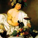Según la leyenda, el origen del dios del Vino viene del de una planta que al estrujarse producía un néctar dorado. Pintura del dios Baco o Dionisio.