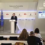 El portavoz del Gobierno de Castilla-La Mancha, Nacho Hernando, ofrece una rueda de prensa, en el Palacio de Fuensalida, para informar de los acuerdos del Consejo de Gobierno. (Fotos: Álvaro Ruiz // JCCM)