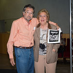 Manuel Requena y Anastasia Tsackos, en la despedida de los Familiares y Amigos de brigadistas que participaron en las Brigadas Internacionales