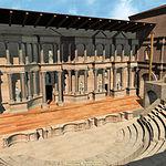Imagen virtual del Teatro de Segóbriga adornado por una serie de estatuas representando togados y musas.