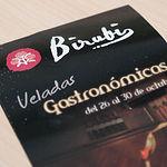 Tríptico de las Veladas Gastronómocas del restaurante Birubi de Albacete.