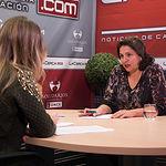 Cesárea Arnedo, diputada del Grupo Parlamentario Popular en las Cortes regionales y secretaria provincial del PP de Albacete. junto a la periodista Miriam Martínez