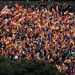 Concentración en la Plaza de Colón contra la negociación política realizada por el Gobierno central con la Generalitat de Cataluña.
