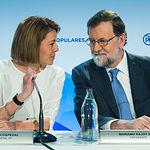 Junta Directiva Nacional del PP - Discurso Mariano Rajoy - 11-06-18 - Foto: María Dolores Cospedal y Mariano Rajoy.