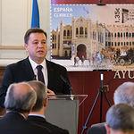 Manuel Serrano, alcalde de Albacete, en la Presentación de la nueva emisión  del sello de Correos de la de la serie 'Efemérides' que conmemora el centenario de la Plaza de Toros de Albacete