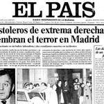 """Portada de El Pais del 25 de enero de 1977 mostrando la noticia de la """"Matanza de Atocha""""."""