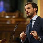 El presidente del Grupo Parlamentario Popular, Pablo Casado, interviene para defender la postura de su grupo respecto a la comparecencia del presidente del Gobierno en funciones.