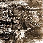 """Dibujo del recinto ferial, conocido como """"La Sartén"""", realizado en el siglo XIX."""
