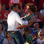 Manuel González Ramos y Matilde Valentín durante el mitin de Pedro Sánchez en Albacete.