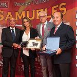 Sebastián Cortés, Cristina Sánchez, Manuel Lozano y Samuel Flores en la Gala de entrega de los XI Premios Taurinos Samueles correspondientes a la Feria de Taurina de Albacete 2016