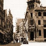 Plaza del Altozano a principios del siglo XIX. El edificio de la derecha fue demolido para ubicar el actual Banco Central.