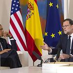 Rajoy recibe a Obama en La Moncloa . La Moncloa, Madrid, 10/07/2016 El presidente del Gobierno en funciones, Mariano Rajoy, y el presidente de los Estados Unidos de América, Barack Obama, durante su reunión en La Moncloa. Pool Moncloa/Diego Crespo.