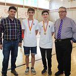 Francisco Navarro participa en el homenaje al equipo infantil regional del Albacete Fútbol Sala y felicita a los dos jugadores que se han proclamado campeones de España con la selección de Castilla-La Mancha