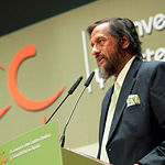 Rajendra Pachauri, Presidente del Panel Intergubernamental contra el Cambio Climático de la ONU, durante la ponencia inaugural de la II Convención sobre Cambio Climático y Sostenibilidad en España, celebrada en Albacete.