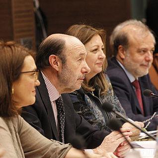 Alfredo Pérez Rubalcaba, durante la reunión de esta tarde