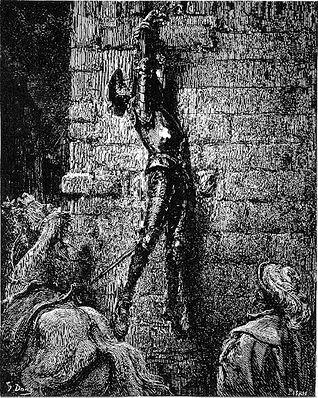 """""""Don Quijote, atado de la mano por Maritornes"""". Grabado de Gustavo Doré."""