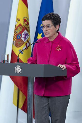 La ministra de Exteriores, Arancha González Laya, en rueda de prensa telemática en el Palacio de la Moncloa....La ministra de Exteriores, Arancha González Laya, en rueda de prensa telemática en el Palacio de la Moncloa......25/3/2020. Foto: Europa Press 2020