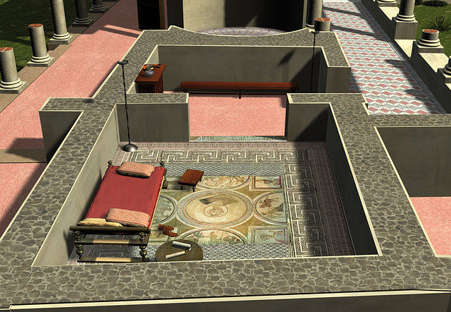 Simulación por ordenador del Cubículum (dormitorio) de Materno.