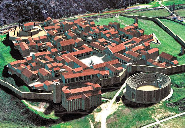 Vista virtual de Segóbriga con la ciudad reconstruida.