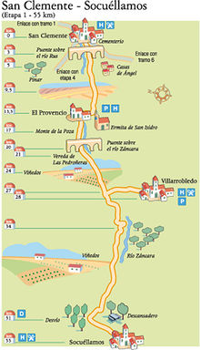 Esta Ruta del Quijote atraviesa campos de cultivo, sobre todo viñedos, y también pinares y algunas zonas de monte