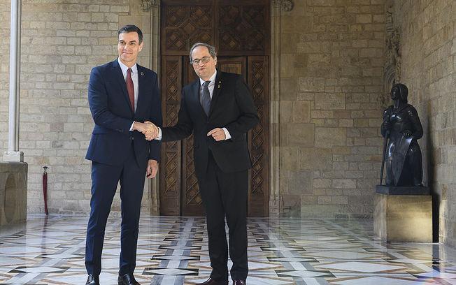 El presidente del Gobierno, Pedro Sánchez, y el president de la Generalitat de Catalunya, Joaquim Torra. Foto: fotobpb