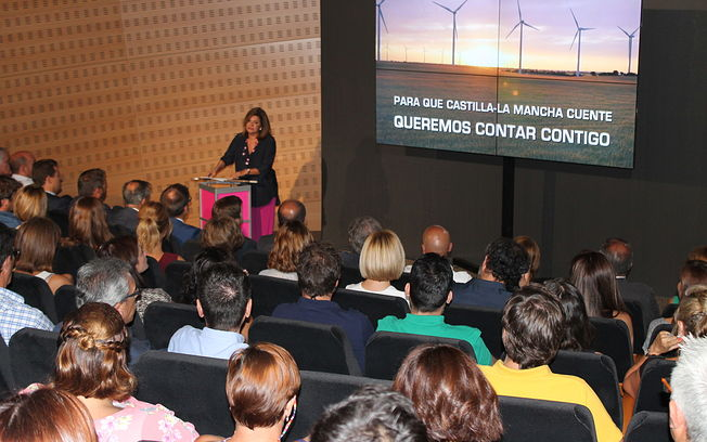 Carmen Amores durante la presentación de la nueva marca de la Radio Televisión Castellano-Manchega.