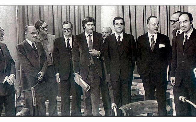 Firmantes del Pacto de La Moncloa de 1977. Archivo.
