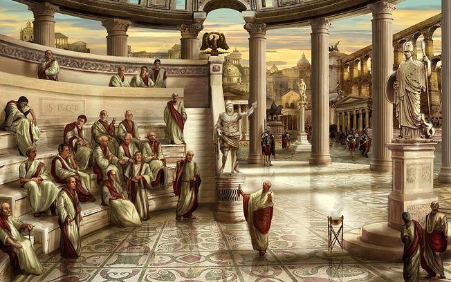 Recreación del Senado Romano.
